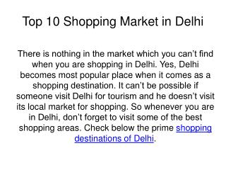 Top 10 Shopping Places in Delhi NCR