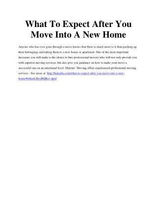 What To Expect After You Move Into A New Home