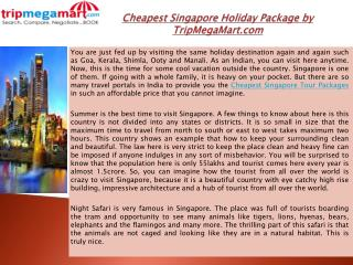 Cheapest Singapore Holiday Package by TripMegaMart.com