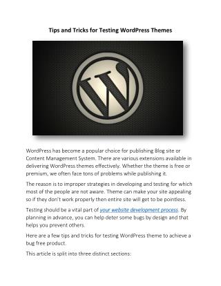 Tips and Tricks for Testing WordPress Themes