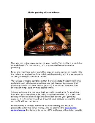 Mobile gambling with casino bonus