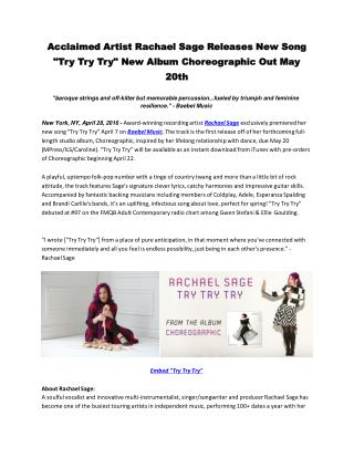 "Acclaimed Artist Rachael Sage Releases New Song ""Try Try Try"" New Album Choreographic Out May 20th"