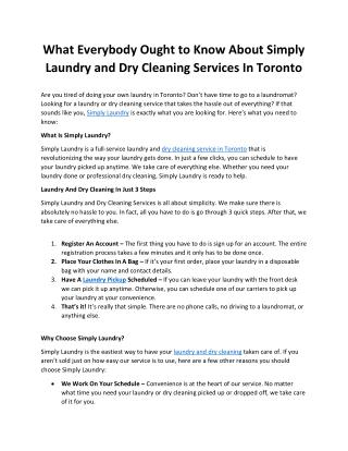 What Everybody Ought to Know About Simply Laundry and Dry Cleaning Services In Toronto