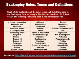 Bankruptcy Rules, Terms and Definitions