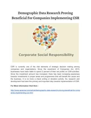Demographic Data Research Proving Beneficial For Companies Implementing CSR