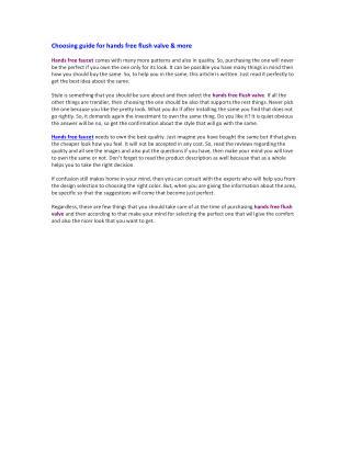 Choosing guide for hands free flush valve & more
