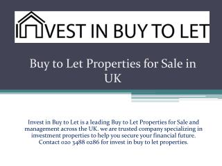 Buy to Let Properties for Sale in UK