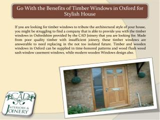 Go with the Benefits of Timber Windows in Oxford for Stylish House