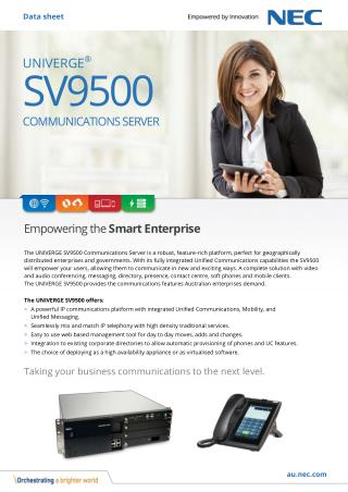 NEC UNIVERGE SV9500 Communications for Government and Enterprise Business