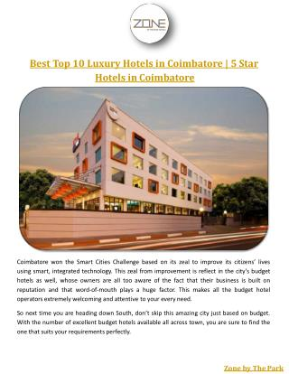 Best Top 10 Luxury Hotels in Coimbatore | 5 Star Hotels in Coimbatore