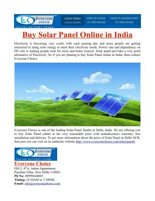 Buy Solar Panel Online in India