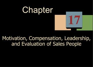Motivation, Compensation, Leadership, and Evaluation of Sales People