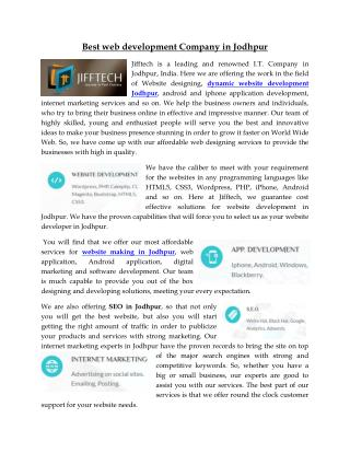 website development jodhpur