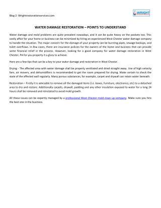 Water Damage Restoration – Points To Understand