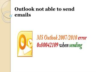 outlook not able to send emails