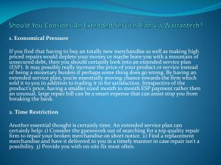 Should You Consider An Extended Service Plan via Warrantech?