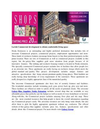 Lavish Commercial Development To Obtain Comfortable Living Space
