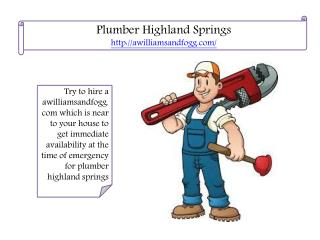 plumber highland springs