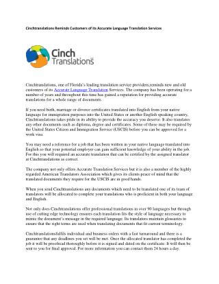 Cinchtranslations Reminds Customers of its Accurate Language Translation Services
