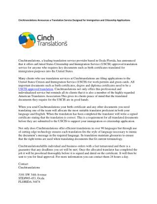 Cinchtranslations Announces a New Diploma Certificate Translation Service