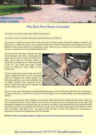 Why Brick Paver Repair is Essential