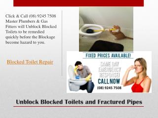 Unblock Blocked Toilets and Fractured Pipes