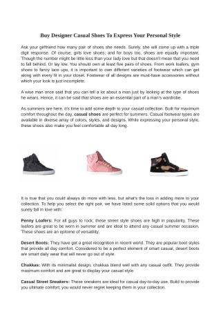 Buy Designer Casual Shoes To Express Your Personal Style