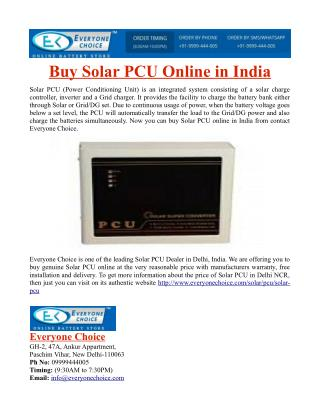 Buy Solar PCU Online in India