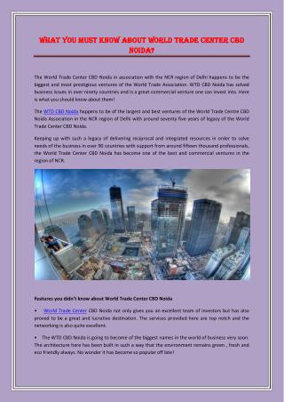 What you must know about World Trade Center CBD Noida?