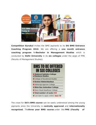 Crash Course for Delhi University BMS Entrance Test