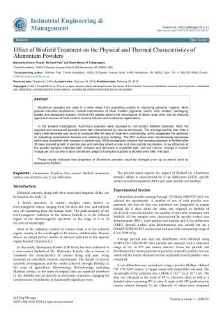 Effect of Biofield Treatment on the Physical and Thermal Characteristics of Aluminium Powders