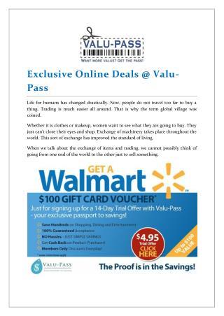 Exclusive Online Deals @ Valu-Pass