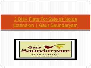 3 BHK Flats For Sale at Noida Extension | Gaur Saundaryam