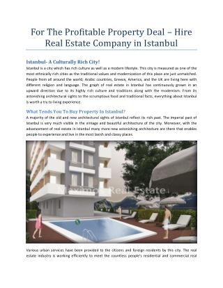 For The Profitable Property Deal – Hire Real Estate Company in Istanbul