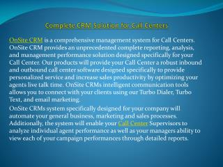 Complete CRM Solution for Call Centers