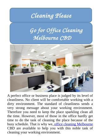 Go for Office Cleaning Melbourne CBD