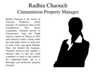 Radhia Chaouch - Cinnaminson Property Manager