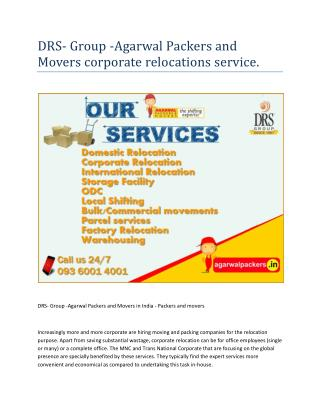 DRS- Group -Agarwal Packers and Movers In India - Packers and movers