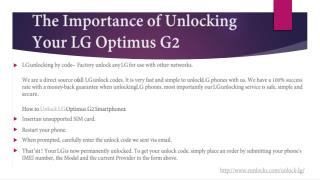 The Importance of Unlocking Your LG Optimus G2