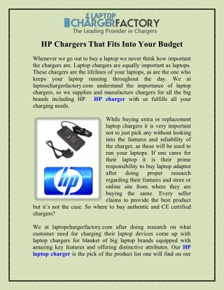 HP Chargers That Fits Into Your Budget