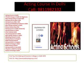 Modeling Training Institute in Delhi, Acting Course In Delhi, acting school in delhi