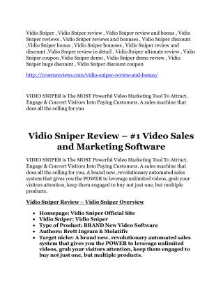 Vidio Sniper review & (biggest) jaw-drop bonuses