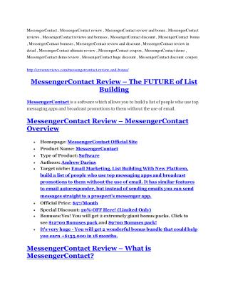MessengerContact review and (FREE) $12,700 bonus-- MessengerContact Discount