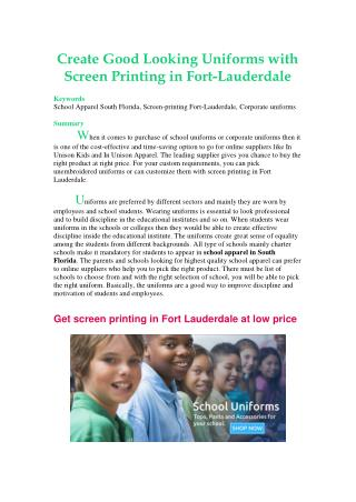 Create Good Looking Uniforms with Screen Printing in Fort-Lauderdale