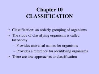 Chapter 10 CLASSIFICATION