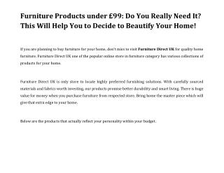 Furniture Products under £99: Do You Really Need It? This Will Help You to Decide to Beautify Your Home!