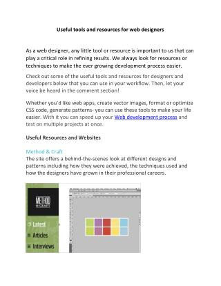Useful tools and resources for web designers