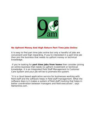 Part time jobs online, part time jobs from home