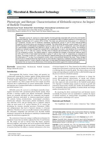 An Impact of Biofield Treatment on Klebsiella Oxytoca