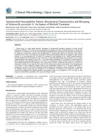 Antimicrobial Susceptibility Assay of Salmonella paratyphi A